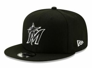 Miami Marlins New Era 9Fifty Black Logo White Outline On Field Snapback Hat Cap