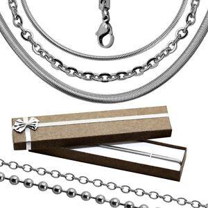1-Halskette-Etui-Geschenkbox-Schlangenkette-Kugelkette-Ankerkette-Silberkette