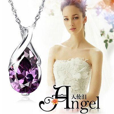 Womens Rhinestone Chain Crystal Necklace Pendant Waterdrop Jewelry Xmas Gift New