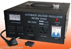 SevenStar 3000W Heavy-Duty Voltage Converter Stabilizer 3000 watt 110v 220v 240v