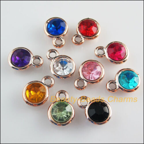 20 New Charms Mixed Acrylic UV Round KC Gold Plated Pendants 11x15mm