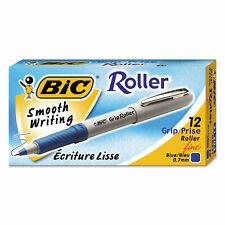 Bic Grip Stick Roller Ball Pen Blue Ink 7mm Fine Dozen Gre11be