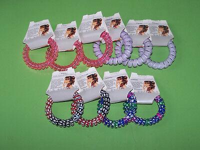 10er Set Haargummis Invisible Spirale Telefonschnur Bunt Pink Rosa (406)