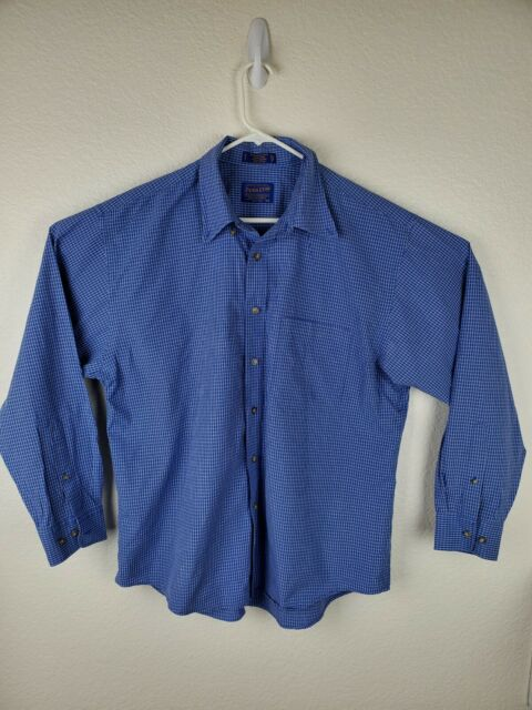 Pendleton Mens Size XL Wrinkle Resistant Button Down Shirt Blue Checks