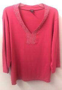 Rafaella-3X-Hot-Pink-V-Neck-Beaded-Knit-Top-3-4-Sleeve-Euc