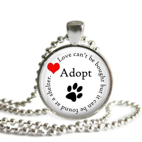Adopt Shelter Pet Cat Dog Paw Print Love Pendant Charm Keychain Pet Lover Foster