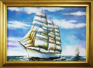 Painting-Storm-Port-Sea-Oil-Ships-Oil-Painting-Picture-Oil-Frame-Pictures-G16288