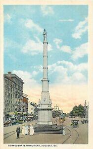 AUGUSTA-GEORGIA-CONFEDERATE-MONUMENT-STREET-SCENE-OLD-POSTCARD-VIEW