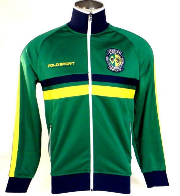 Sport Brazil Lauren Polo Brasil Green Front Men's Zip Track Nwt Ralph Jacket 3LAR54qj