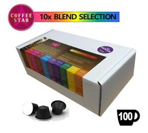 100 Coffeestar Nespresso compatible capsules 10 x Different Selected Blends 5056002702133