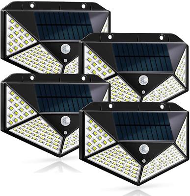 4 Lamparas Solares 100 Led Luces Para Exterior Patio Con Sensor De Movimiento Us Ebay