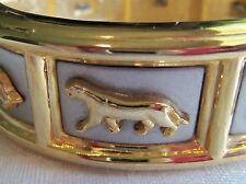 Vintage Gorgeous Chunky Heavy Gold plated Panther Cougar Leopard Cat bracelet