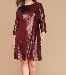 Lane Bryant Sharp Red 3 4 Sleeve Sequin Swing Dress Size