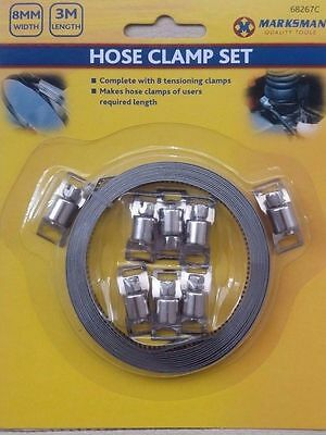 HOSE CLAMP 3M x 8mm METAL BAND HOSE CLAMP KIT WITH 8 TENSION CLAMPS 68267C