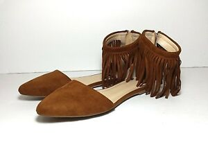 many fashionable temperament shoes biggest discount Charlotte Russe pointed toe faux suede flats size 6 brown fringe ...
