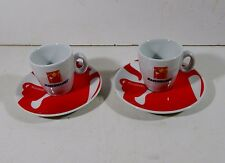 2X CERAMIC PORCELAIN HAUSBRANDT ESPRESSO SET OF TWO CUPS WITH SAUCERS