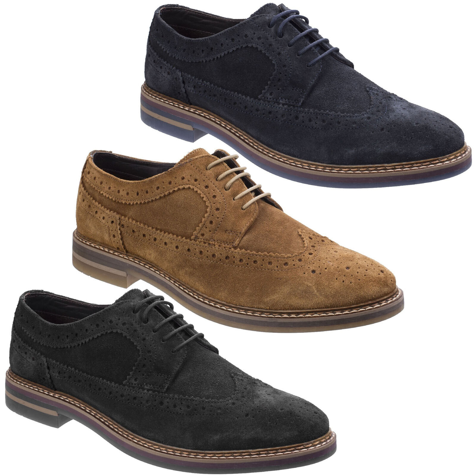 Base London Turner Mens Brogue schuhe Formal Derby Suede Leather Lace Up Smart