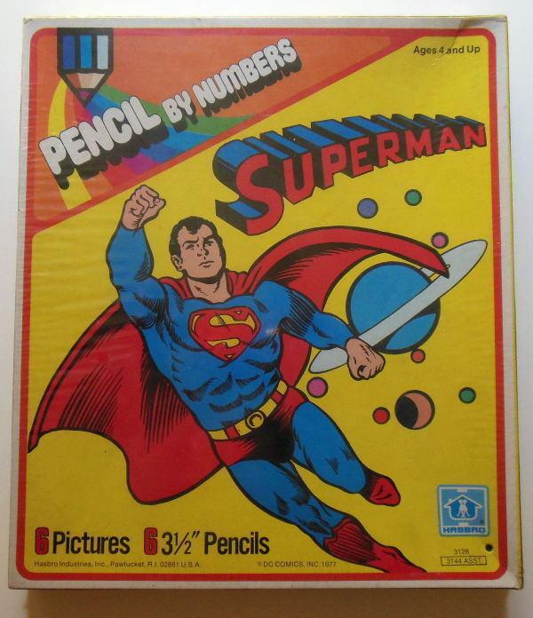 súperman Lápiz Por Números Conjunto Hasbro 1977 Menta en Caja Sellada