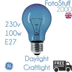 Image is loading 100w-E27-Daylight-Craftlight-GLS-Blue-Filter-Bulb-