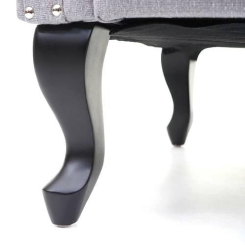 Stoff//Textil grau 39x77x47cm Ottomane B-Ware Sitzhocker Chesterfield Oxford