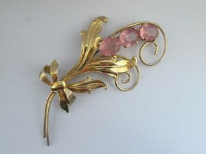 Vintage-Signed-Wilcox-Sterling-Gold-Oval-Pink-Glass-Flower-Statement-Brooch-Pin