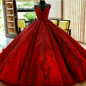 Red Beaded V Neck Wedding Dresses Lace Applique Puffy Ball Gown Corset Custom Ebay