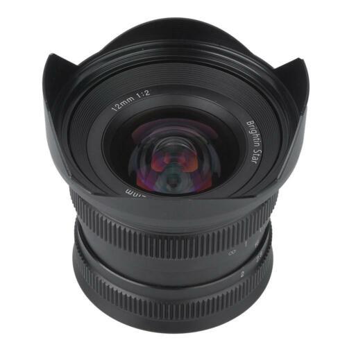 Lente de enfoque manual de metal 12mm F2.0 APS-C para montaje cámara sin espejo