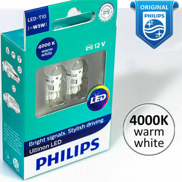 12 V 4000 K warm white 2pc NEW PHILIPS LED-T10 Experience more lights ~W5W