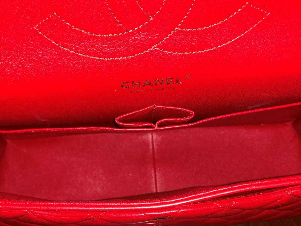 Authentic Chanel Classic Jumbo Red Lambskin Doubl… - image 9