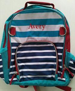 Pottery Barn Kids Large Fairfax Blue Red Aqua Striped