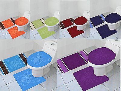 3 Piece Geometric Wave High Pile Bathroom Set Contour Rug /& Lid Cover Turquoise