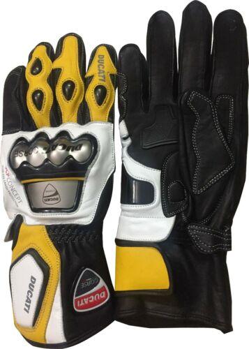 Ducati Corse MotoGP  Metal Leather Motorbike Gloves Yellow