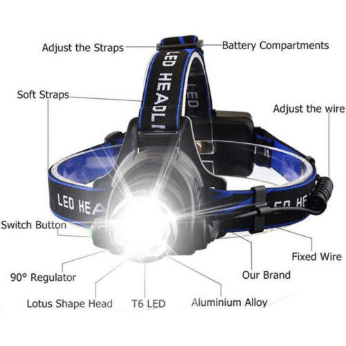 T6 350000LM LED Rechargeable Head Torch Light Headlamp Flashlight Set Waterproof