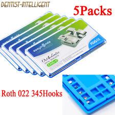 5packs Orthodontic Dental Brackets Brace Mini Metal Roth 022 Slot 3 4 5 Hooks