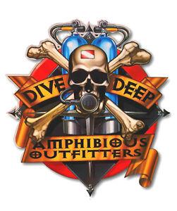 Aufkleber A/O Amphibious Outfitters Deep Skull Taucheraufkleber Diving Divers