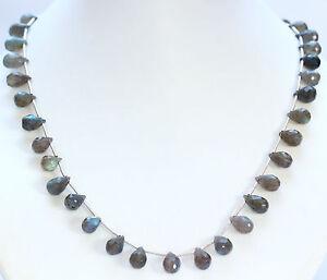 Labradorit-Kette-Edelsteinkette-Tropfen-Collier-Grau-mit-Blau-Schimmer-ca-46-cm