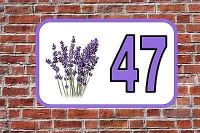 House Door Number Sign Lavender  Design Metal Door Sign