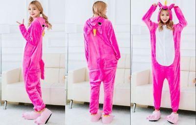 NEU Einhorn Pyjamas Kostüm Jumpsuit Tier Schlafanzug Erwachsene Unisex Fasching