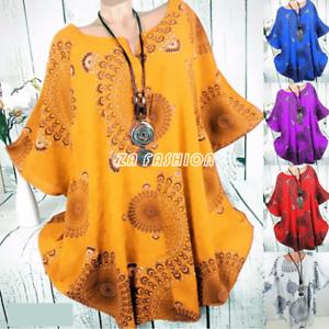 S-5XL-Plus-Size-Blouse-Women-Boho-Short-Sleeve-Casual-Loose-Tunic-Top-Tee-Shirt