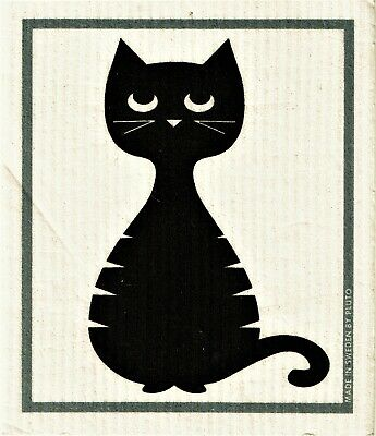 "Swedish Dishcloth /""Swedish Cat/""  Made in Sweden by Pluto   6.75/"" X 8/"""