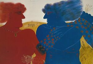 Alekos-Fassianos-034-LOVERS-RED-WOMAN-amp-BLUE-MAN-034-Offset-Litho-Print-Greek-Artist