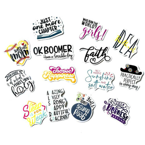 50Pcs English Letters Cartoon Quotes Stickers Laptop Skateboard Luggage Decals