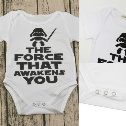 Newborn Baby Infant Boys Girls Funny Letter Short Sleeve Outfit Clothes Jumpsuit