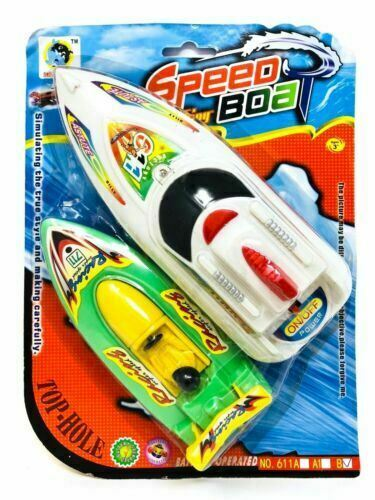 Battery Operated Speedboat Toy Assorted Colour Gift Boys Girls Bath Pool Toy