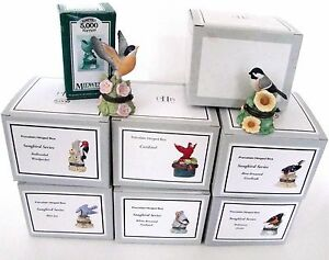 PHB-Midwest-of-Cannon-Falls-Hinged-Boxes-SONG-BIRD-SERIES-amp-Cardinal-Set-of-8