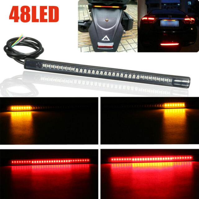 48 LED SMD Motorcycle Strip Light Rear Tail Stop Turn Signal Brake Stop Lamp UK