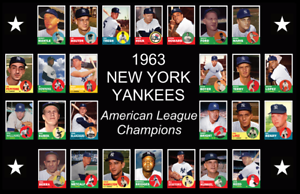 Details About 1963 New York Yankees Baseball Card Poster Man Cave Decor Birthday Fan Gift 63