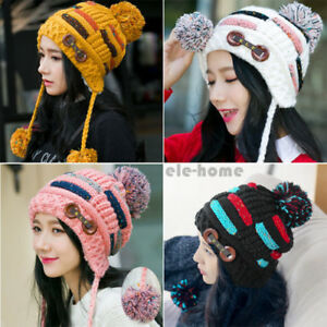 d518852a708 Women Winter Warm Braided Crochet Wool Knit Hat Girl Beret Ski ...