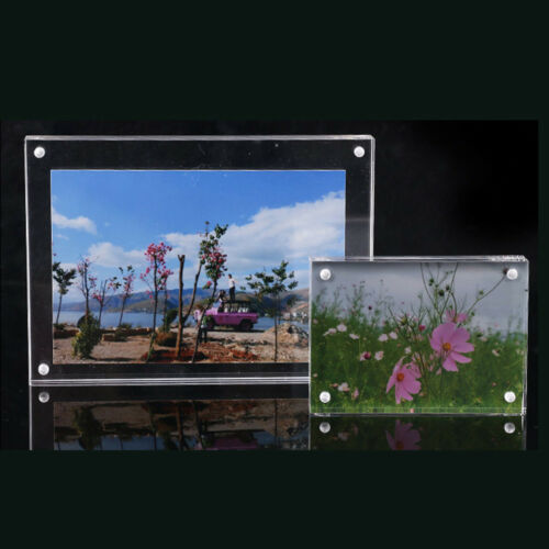 Small Freestanding Polished High,Clear Acrylic Magnetic Picture Photo Frame