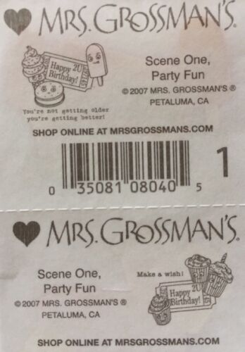 2pc Mrs.Grossman/'s •Cupcake•Party•Celebrate•Ticket•Ice-cream PARTY FUN Stickers
